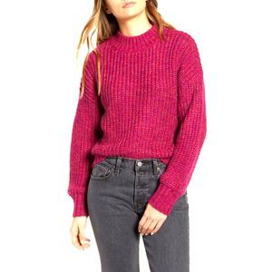 BAND OF GYPSIES Glacee Ribbed Mock Neck Sweater L